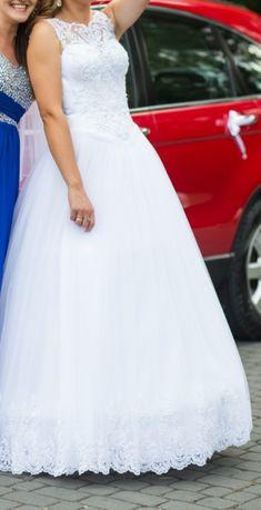 suknia ślubna koronki welon piękna księżniczka prinesska