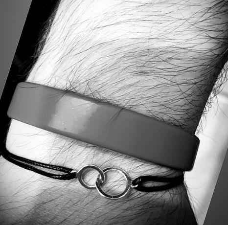 Bransoletka na sznurku męska srebro 925 bransoletka szczęścia