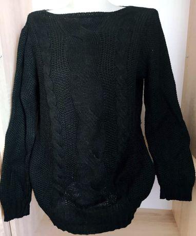 Czarny damski ażurowy sweter warkocz