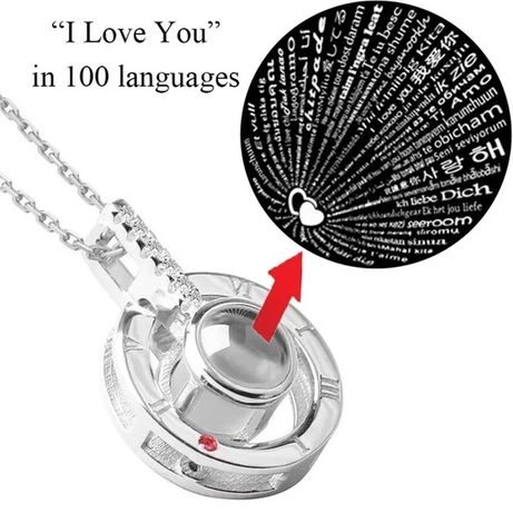 Colar Banhado a prata com 100 línguas a Dizer EU te amo
