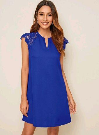 Sukienka kobalt koronka
