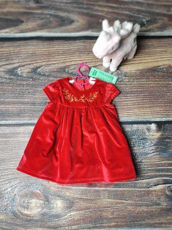 Sukienka aksamit czerwona z haftem tiulem elegancka r. 74 nowa z metką