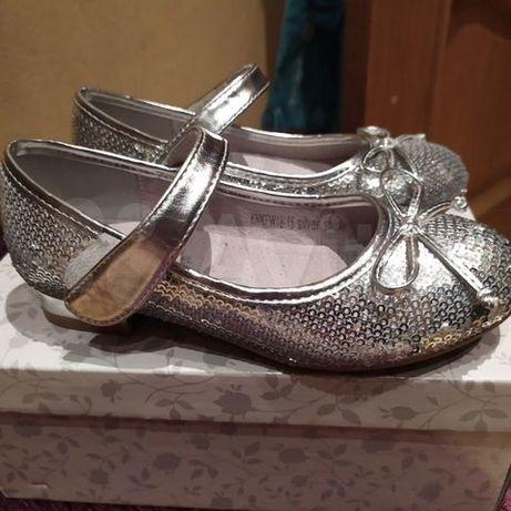 Нарядные туфли серебряные с пайетками, 28 размера