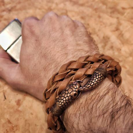 Кожаный браслет/фермуар