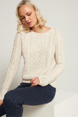 GAP ciepły prosty biały sweter w warkocze bawełna S 36 M 38