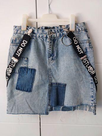RESERVED spódnica jeans spódniczka jeansowa szelki 36 S j. Mohito