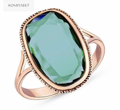 Золотое кольцо (каблучка) из красного золота с травяным кварцем.