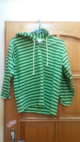 Bluza z kapturem w paski cienka bawełna zielona