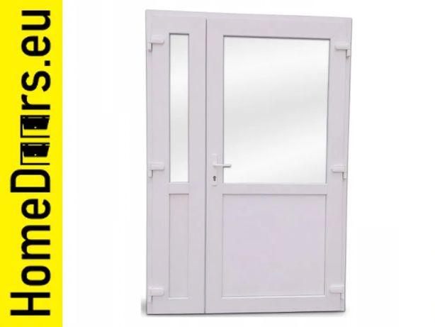 Drzwi zewnętrzne dwuskrzydłowe 140x210 PCV Białe