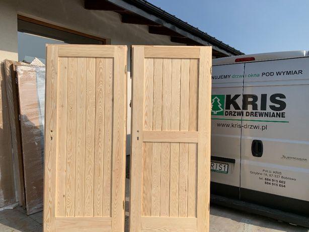 Drzwi 100% LITE drewniane frezowane pełne, sosna bezsęczna na wymiar