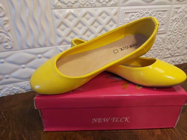 Nowe żółte baleriny, obuwie damskie, rozmiar 39
