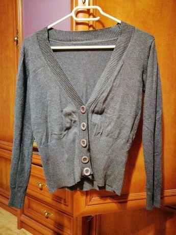 Sweter szary rozpinany dekold