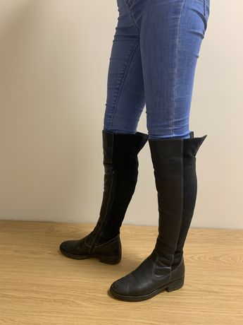 Чоботи зимові шкіряні з замшою Кожаные сапоги