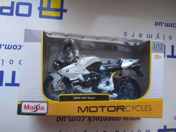 Модель мотоцикла BMW HP2 Sport, чорний з білим - Maisto