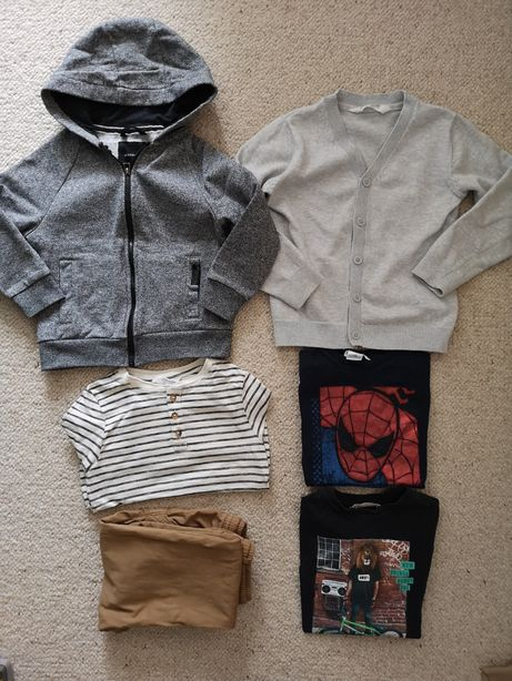 Zestaw HM MANGO koszulki joggersy bluza kardigan 116