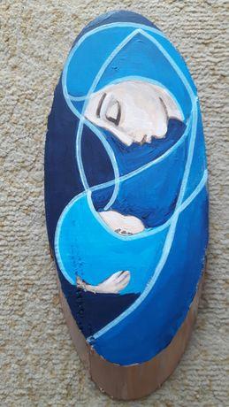 Anioł Matczynej Czułości obraz malowany ręcznie na drewnie rękodzieło