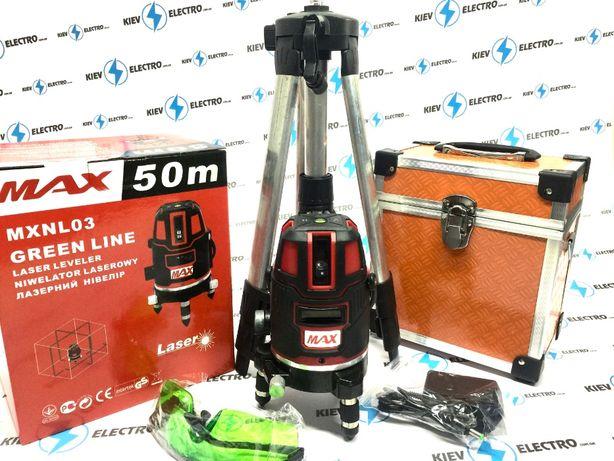 Лазерный уровень нивелир MAX POLAND MXNL03 + ШТАТИВ (зеленый луч 50м.)