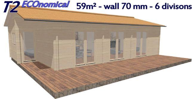T2 eco  59 m²  6 Divisões  Casa de madeira  Pre-fabricada mobile home