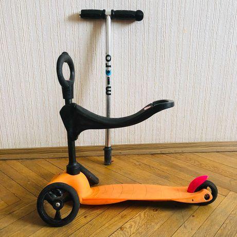 Самокат Mini Micro Sporty на запчасти + сиденье Микро Мини неисправный