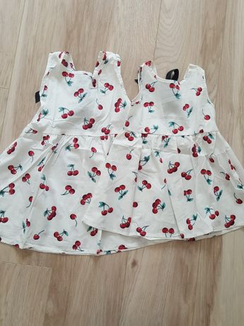 Sukienki dla siostr 86 , 104, 110. Biale w wisienki . Lato