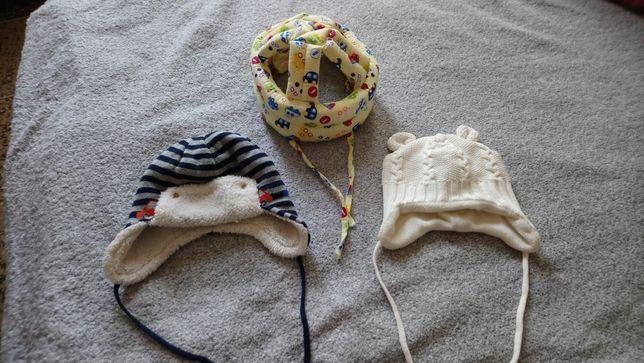 Шапочки зимние + шапка шлем (для защиты ))