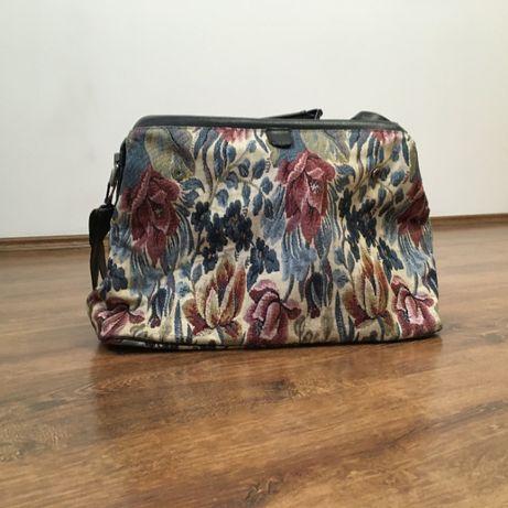 Torebka torba żakardowa vintage prl wzór w kwiaty