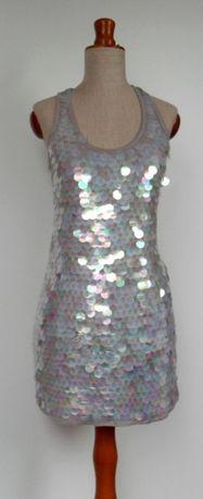 sukienka cekinowa duże cekiny tęczowe xs/s
