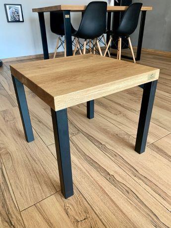 Stolik kawowy Ross z drewna dębowego w stylu industrialnym/loft