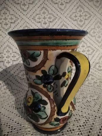 Ceramiczny dzbanuszek wazonik sygnowany, XIX/XXw