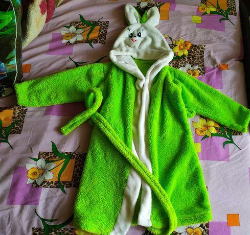Детский махровый халат зайка.