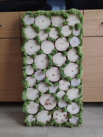 Panel/obraz z mchu i plastrów drewna
