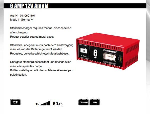 Prostownik do akumulatorów niemieckiej firmy ABSAAR 6A 12V * SOLIDNY