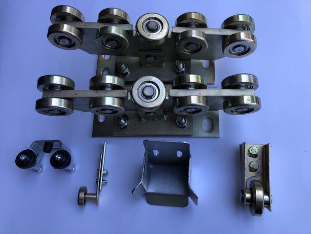 Wózek 9 rolek do bramy przesuwnej 80x80 łapacz rolka najazd