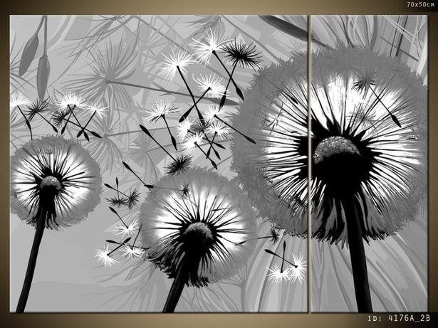 Obrazy na płótnie, Dmuchawce w czerni i bieli, więcej wzorów