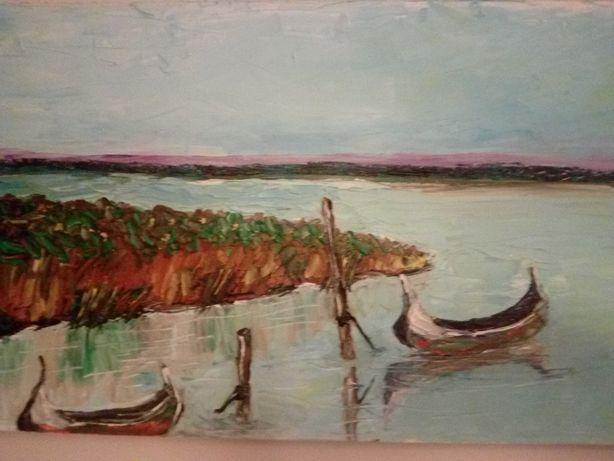 "Pintura a óleo ""os barcos"""