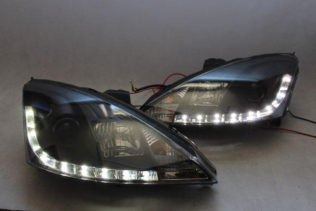 Lampy przednie przód FORD FOCUS I 1 98-01 Dzienne DRL LED Black NOWE