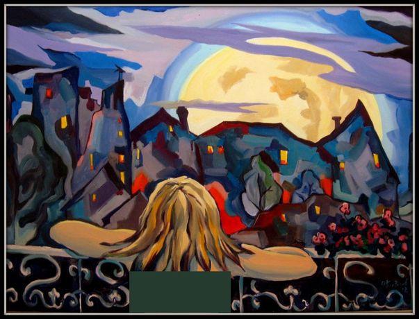 """Картина маслом """"Дівчина і місяць"""""""