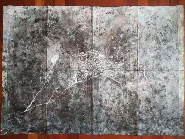 Pintura mapa paisagem - aguarela tinta-da-china pastel caneta 29,7x42c