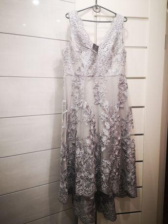 Серое платье с глубоким вырезом и вышивкой , QUIZ