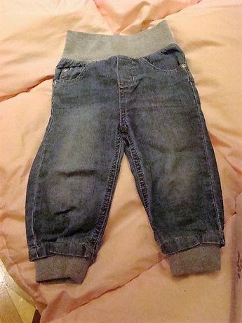 Spodnie dżinsowe z podwyższonym stanem, roz. 80