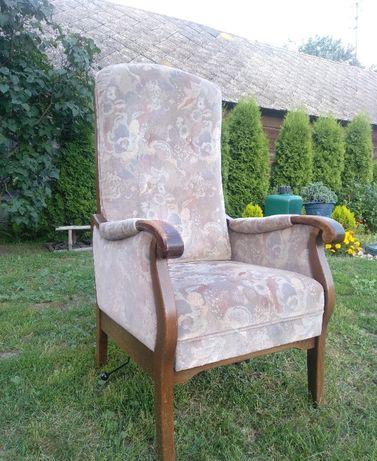 Fotel tron dębowy regulowany,podnoszone siedzisko Holenderski