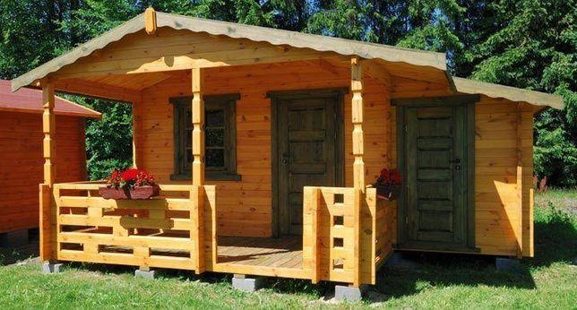 Domek drewniany ogrodowy, letniskowy, altana 3,8x3,0+2,0m tarasu+1,5m