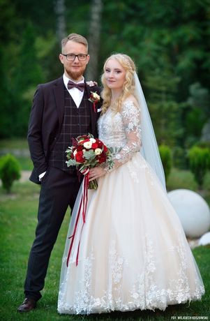 Suknia ślubna księżniczka z welonem 2m