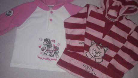 Dwie bluzy polarowe mięciutkie dla dziewczynki r. 80