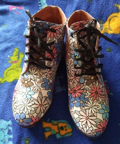 Ботинки ботінки боти черевики шкіра кожна 24 см 36 37 ромашка angelina