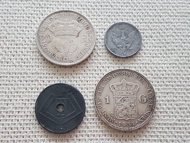 Zestaw 4 monet, 5 fenigów królestwo polskie, 20 fr, 1g,