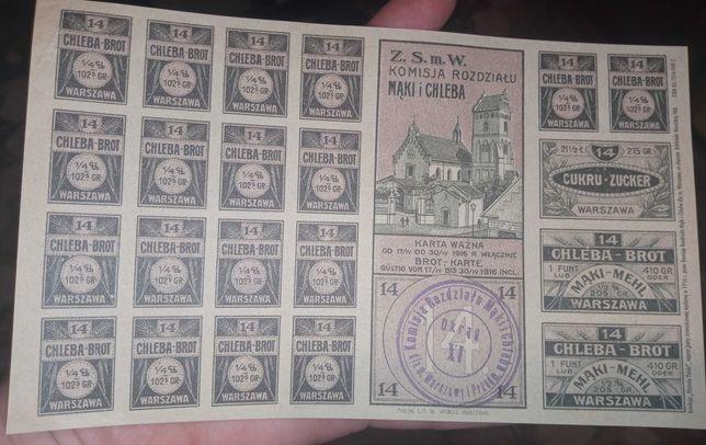 Reprint karty żywnościowej z 1916roku. Rezerwacja!!!