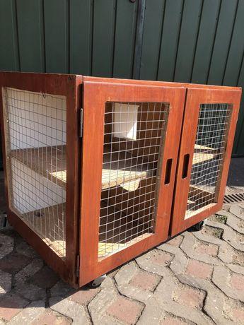 Drewniana piętrowa klatka dla królika, świnki morskiej