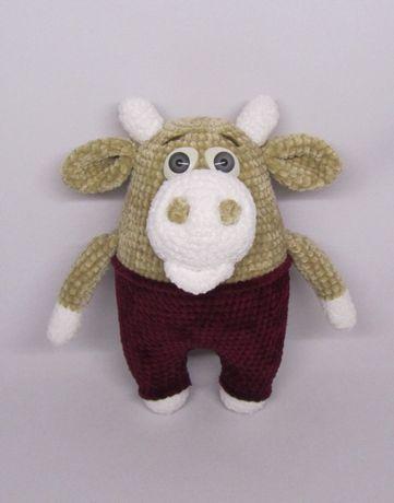 Плюшевый бычок символ 2021 вязаная игрушка бык корова коровка теленок
