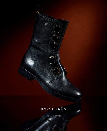 Buty, botki, bikery 41 portugalskiej marki No Studio skóra skórzane